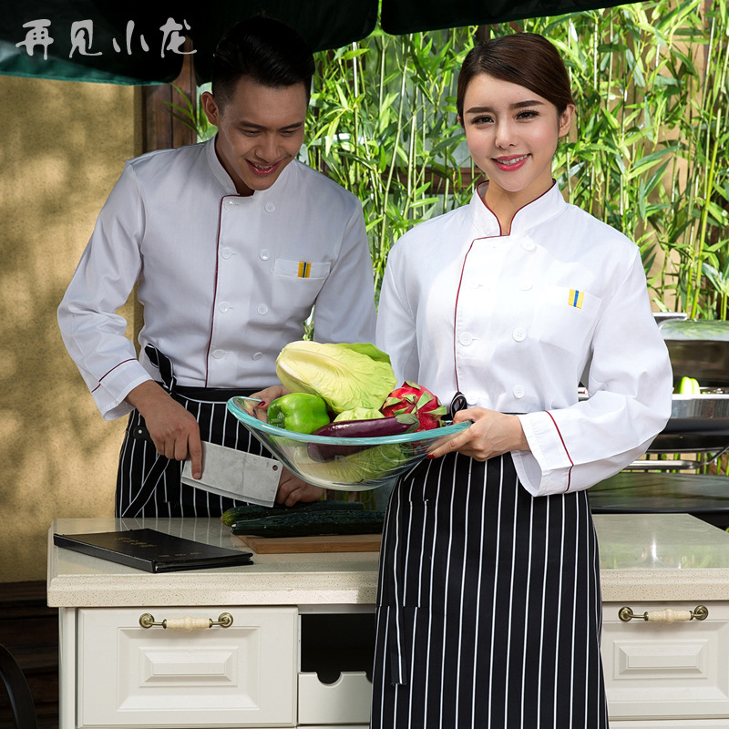 Solid Full Sleeve Chef Jacket Hospitality Cook Uniform Female Grand Master Chef Coat Male Chief Jackets Plus Size B-5901