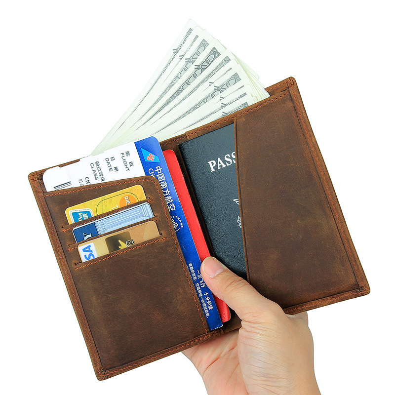 Genuine Leather Passport Holder Document Organizer Cover 635-40 Crazy Horse Leather Rfid Credit Card Wallet For Men Travel