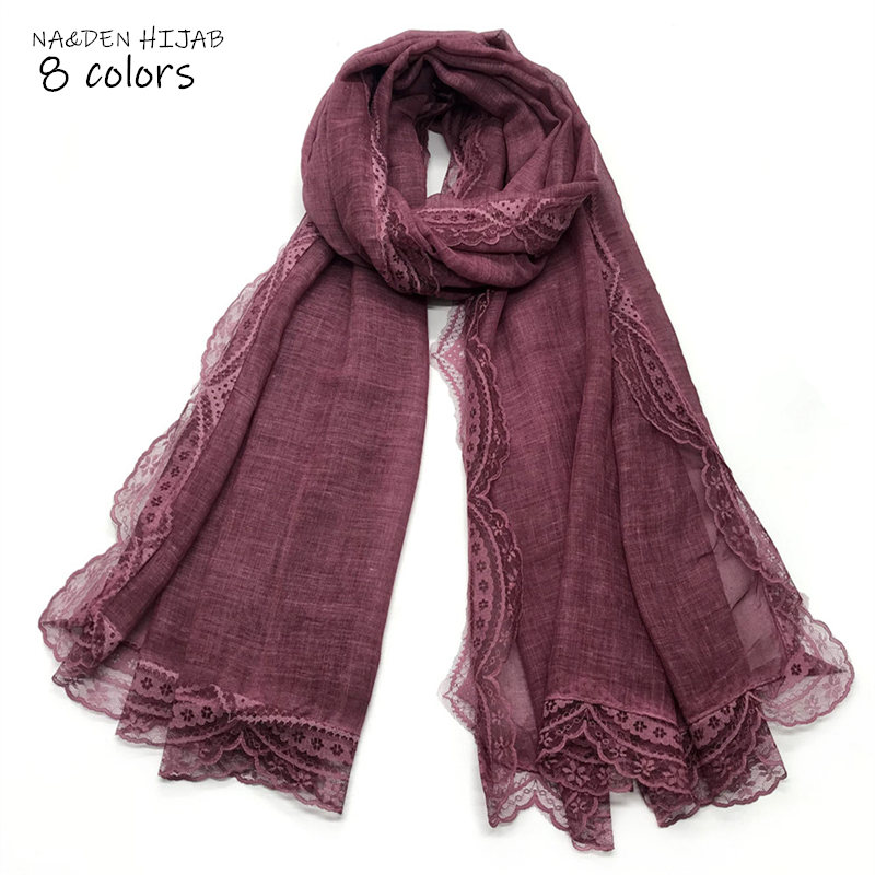 NEW Luxury Embroidery lace floral border Scarf Embroider flowers shawl muslim scarfs women soild shawls lace