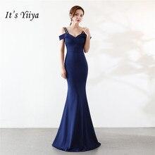 Het Yiiya Mermaid Avondjurk Sexy Boothals Rits Backparty Jassen Elegant Floor Length Royal Blue Trompet Prom jurken C104