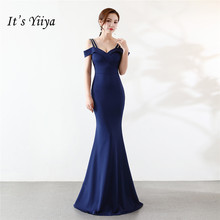 Its Yiiya Mermaid Evening dress Sexy Boat neck Zipper backParty Gowns Elegant Floor-length Royal blue trumpet Prom dresses C104