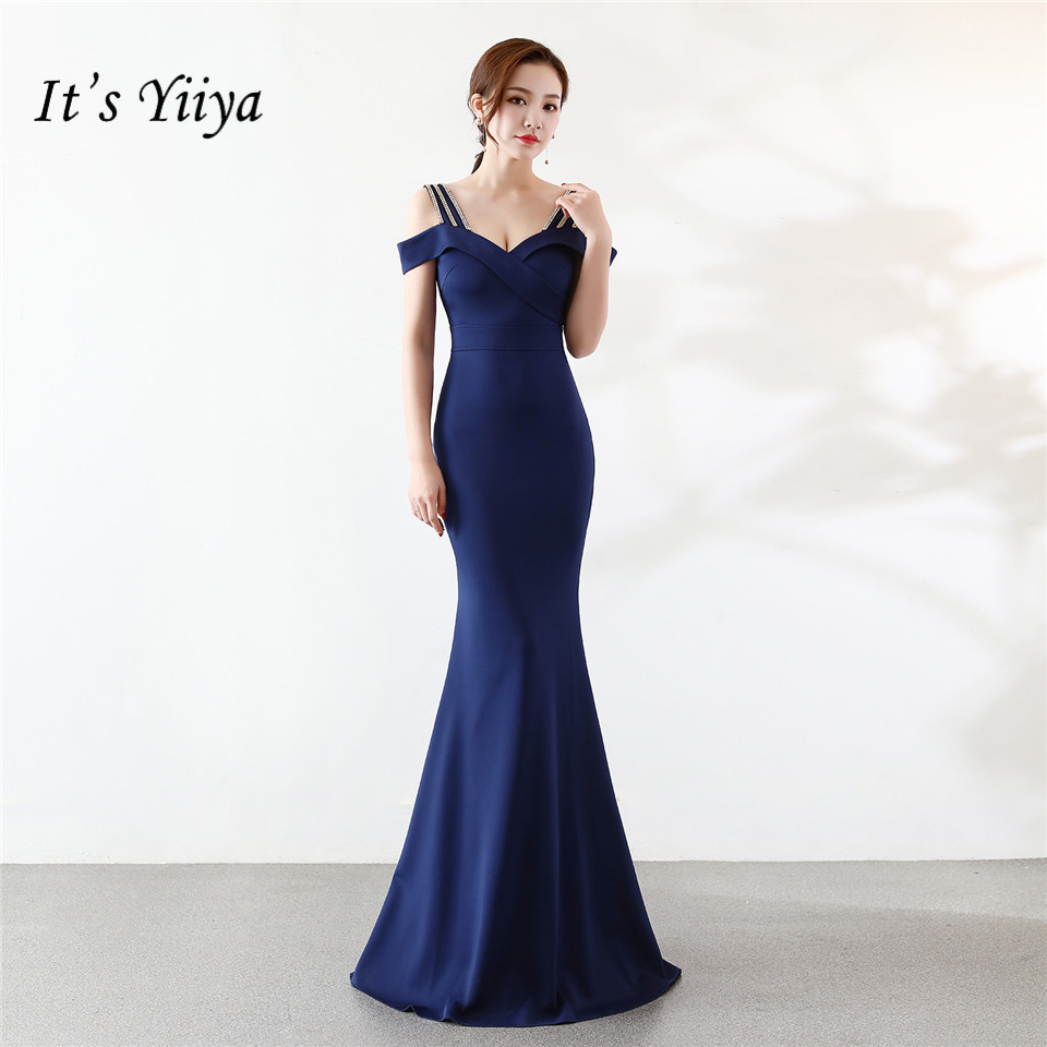 It's Yiiya Mermaid   Evening     dress   Sexy Boat neck Zipper backParty Gowns Elegant Floor-length Royal blue trumpet Prom   dresses   C104
