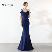 Женское вечернее платье с юбкой годе it's yiiya синее до