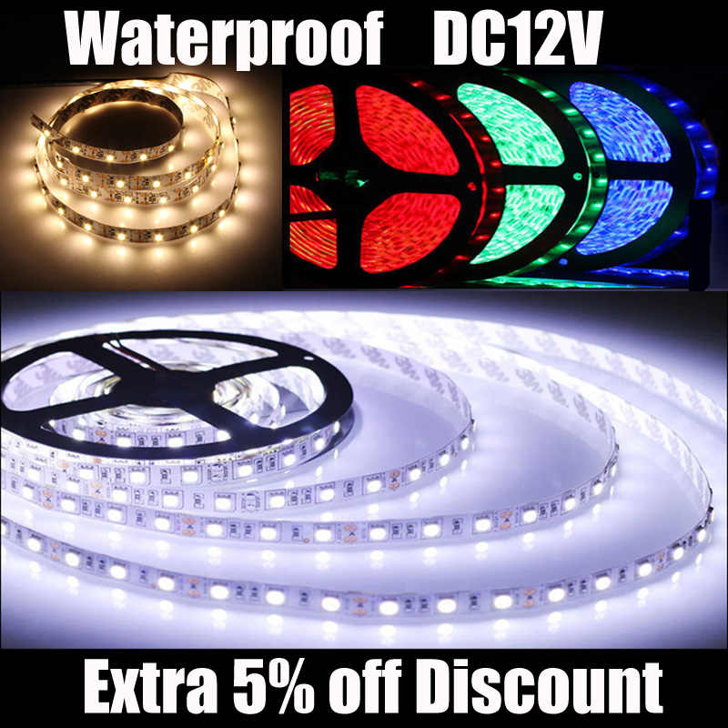 1M 2835 SMD LED Strip light DC 12V 60LEDs/M Waterproof Indoor Home Holiday Decorative Tape White Warm White Green Blue Red
