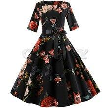 Vintage Dress Women Floral Elegant Long Sleeve summer Christmas Dress Half Sleeve Party Dress Swing Casual Plus Size jurken