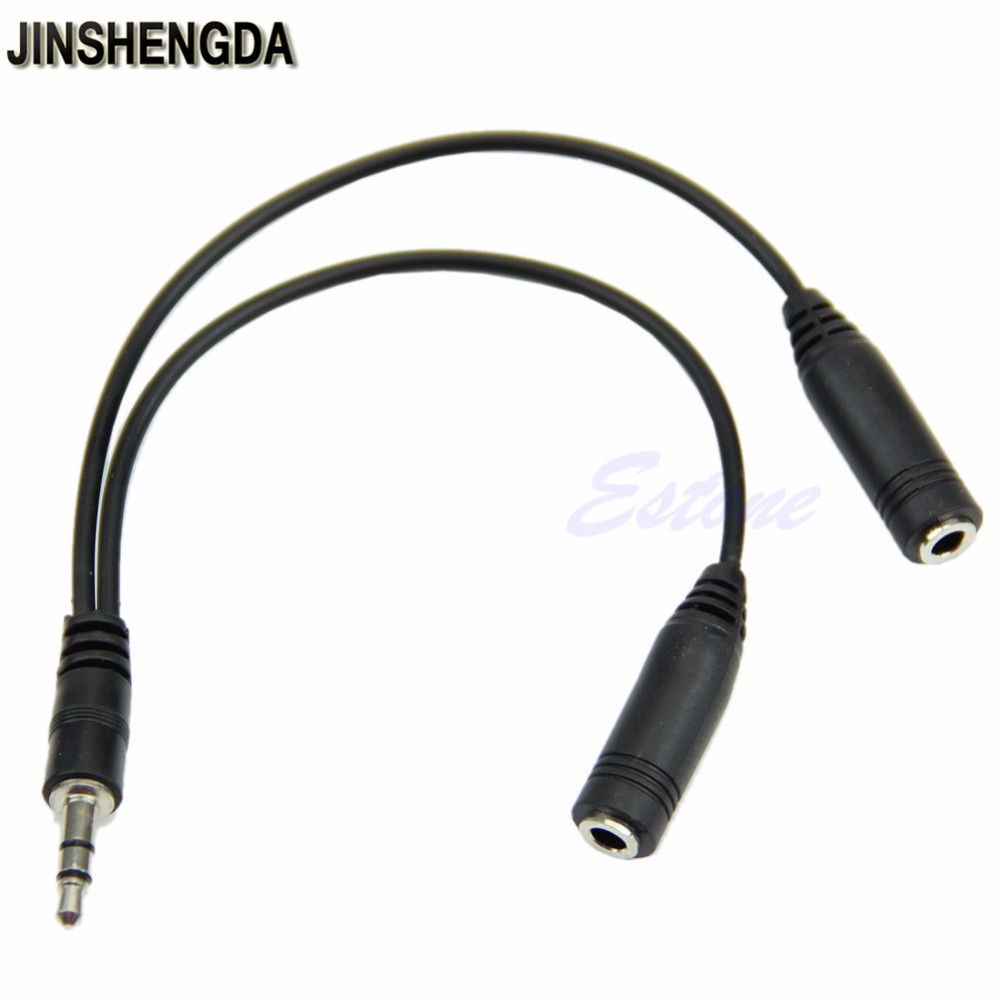 JINSHENGDA 1 PC JINSHENGDA 3.5mm 1/8 Male To 2 Dual Female Earphone Headphone Stereo Audio Y Splitter Cable mini stereo male 3 5mm jack 1 to 2 dual female earphone headphone y splitter cable cord audio adapter plug for mp3 cell phone