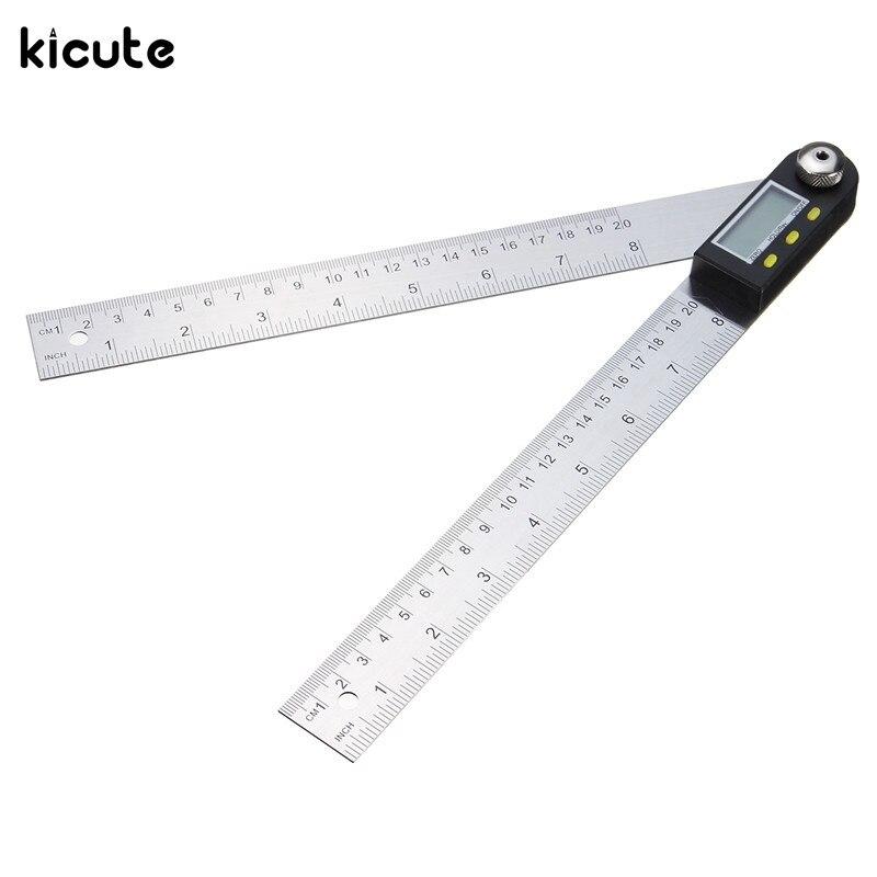 Kicute 2 IN 1 Digital Angle Ruler Protractor 360 Degree 200mm Electronic Digital Protractor Angle Finder
