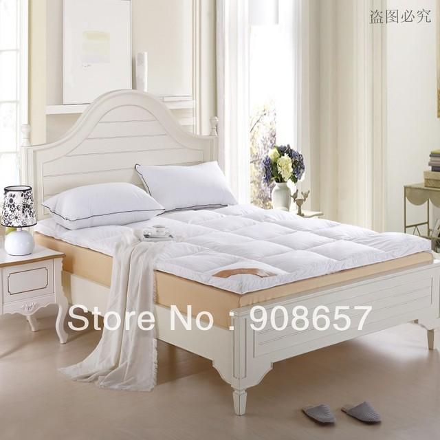 Nuevo 10 CM blanco 95% plumón de pato relleno acolchado engrosamiento colchón plegable de cinco estrellas hotel plumón de pato colchón Topper tela de algodón