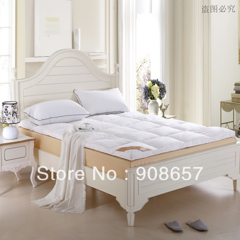 new 10CM White 95% duck down filling quilted mattress Thickening folding five-star hotel Duck Down Mattress Topper cotton fabric
