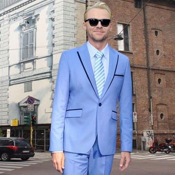 2017 Custom Made Sky Blue Men Suit For Party Prom Wedding Groom Tuxedos Beach Groomsmen Men Suits Blazers Casual (Jacket+Pants)