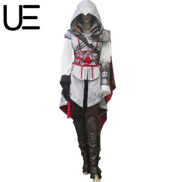 Señoras de las mujeres assassins creed 2 II Ezio traje de cosplay para las mujeres Por Encargo Uniforme Traje de Halloween ropa femenina