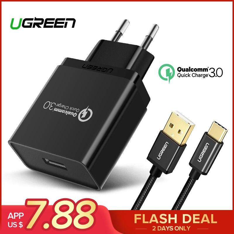 Ugreen USB Ladegerät 18 watt Quick Charge 3,0 Handy Ladegerät für iPhone Schnelle QC 3,0 Ladegerät für Huawei Samsung galaxy S9 + S8 +