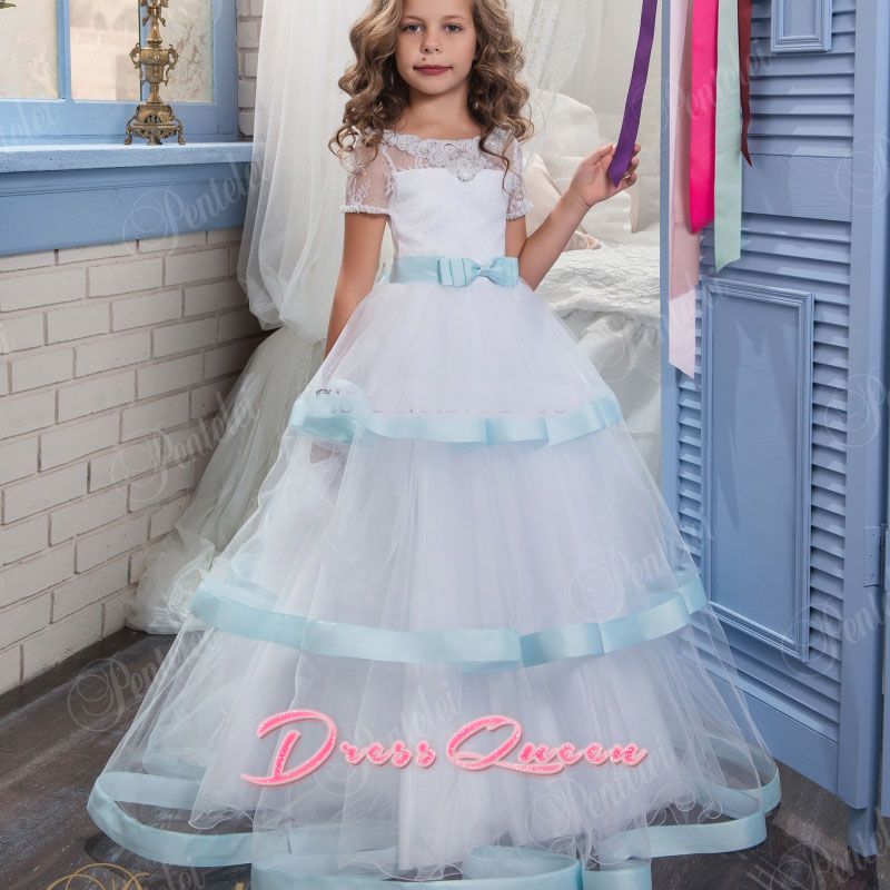 2017 New Blue and White Flower Girl Dresses Ball Gown Short Sleeves O-neck Belt Lace Three Layers First Communion Gowns Vestidos