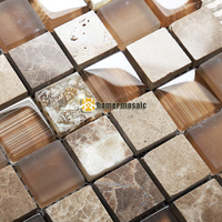 crystal glass mixed marble stone mosaic tiles with natural shells EHGM1077 for bathroom and kitchen backsplash free shipping