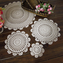 Round placemat Cup Tablecloth Handmade Crochet Lace Cotton Placemat Table Cloth Doily Cover Pad Tea Coffee