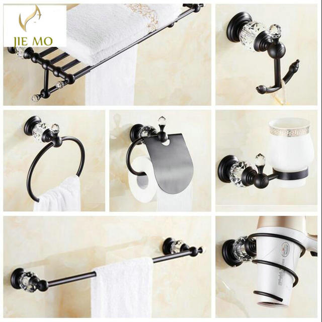 Negro latón y cristal accesorios de baño conjunto de Hardware estante de  toalla Barra de toalla 722084591fac