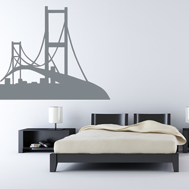 San fransisco wall decal vinyl removable golden gate bridge wall sticker personalized colors home decor for
