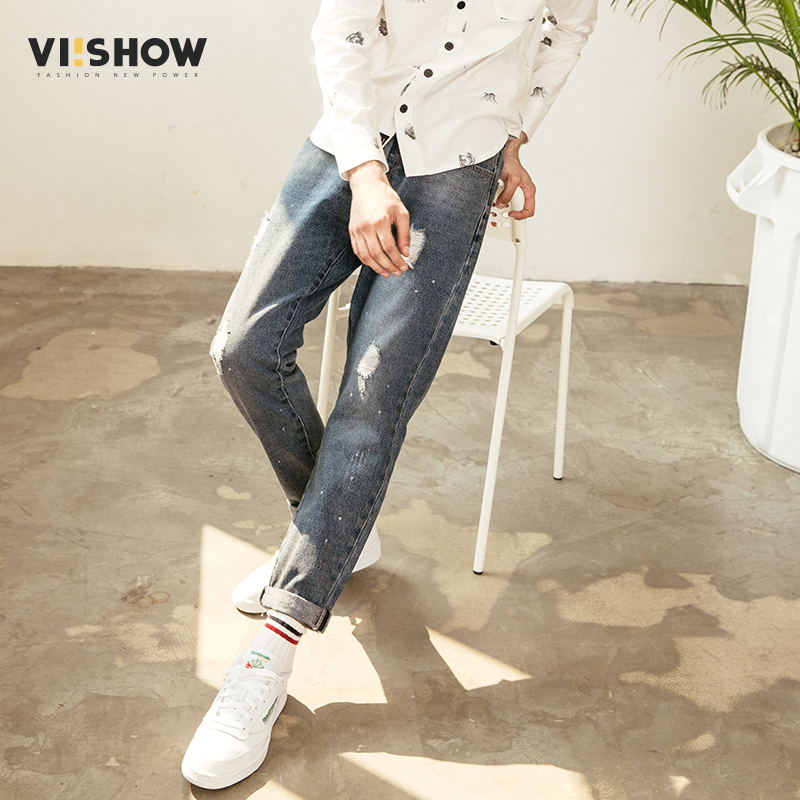 VIISHOW Ripped Hole Jeans Men Brand Clothing High Quality Male Jeans Fashion Casual Mens ...
