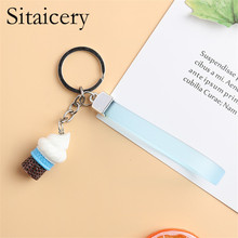 Sitaicery 2PCS/Set Ice Cream Keychain Pendant Bag Charm Colorful Key Chains For Girls Children Cute Jewelry Trinket Couple Gifts ice cream design keychain