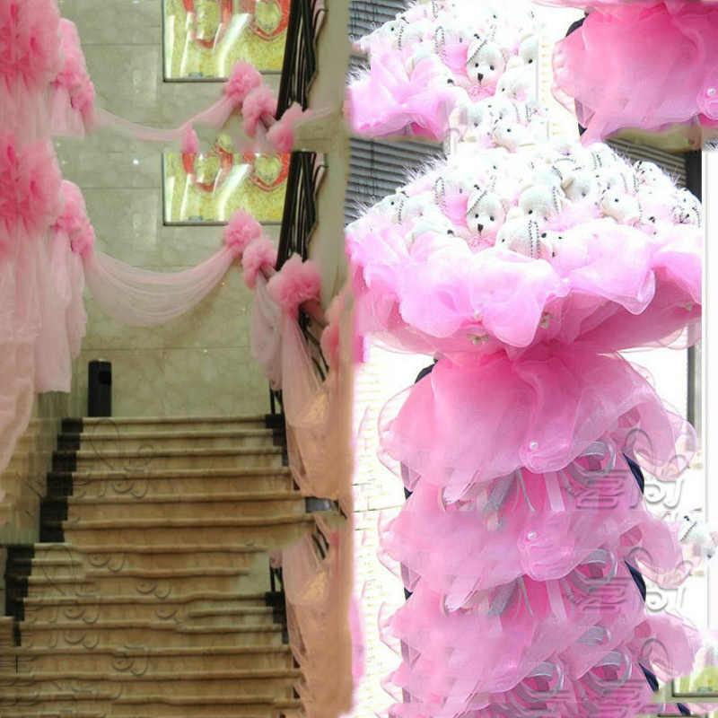 Cryatal אורגנזה טול בד חוט DIY קשתות חתונה טכס קיוסק טול Spool מלאכות מסיבת אספקת קישוט