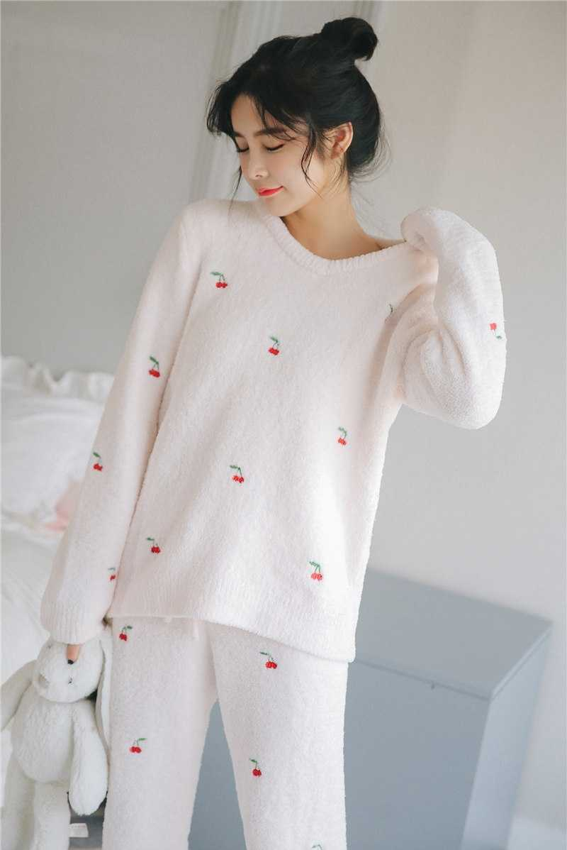8df67e86091 New Super Sweet Japanese Soft Downy Suit Thicken Women's Winter Cute Cherry  Embroidery Soft Flannel Warm