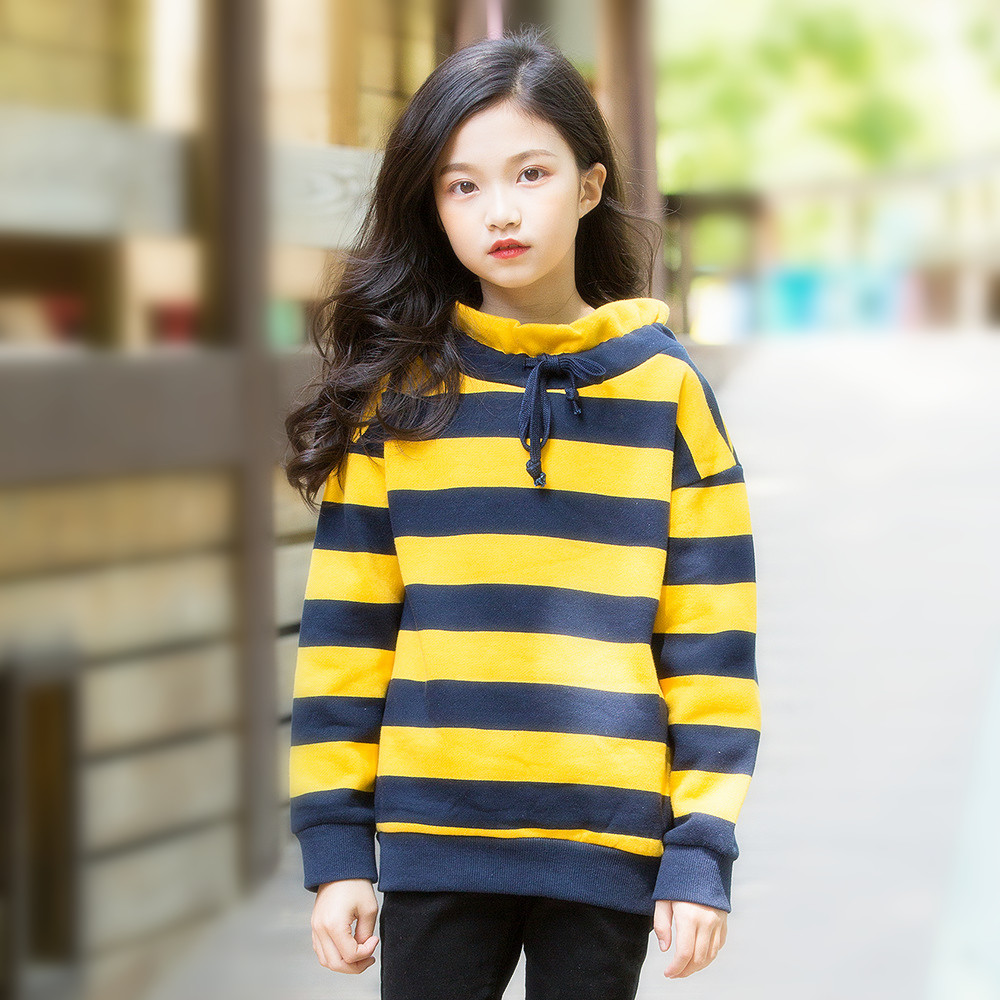Teenage Kids Fleece Sweatshirt Autumn Winter Thick Striped Casual Sweatshirt for Girls Tops 12 Year Kids Outfits Children Hoodie