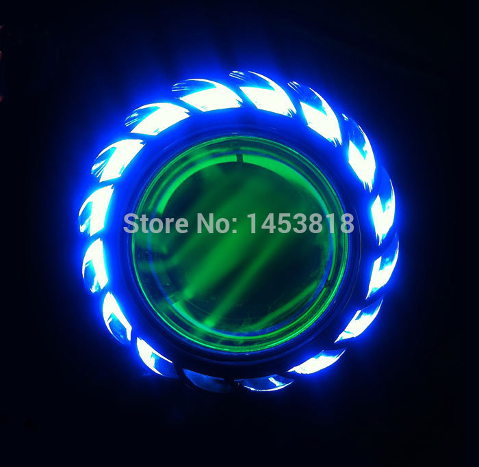 13A 35w 12v 2 inch bi hid projector motorcycle headlight red yellow blue green white angel eyes H4 8000k 6000k 4300K цены