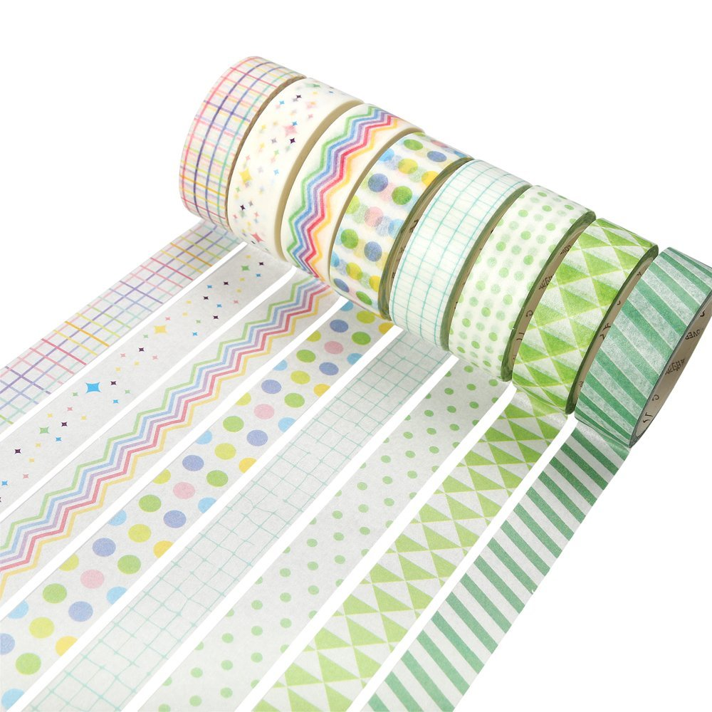 все цены на 15mm x 7m Simple Colorful Stripes Dot Grid Decorate Washi Tape Adhesive Tape Diy Scrapbooking Sticker Label Masking Tape