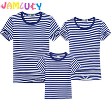 Summer T-Shirt Family Clothing Sailor Striped Dad Son T Shirt Look Set Father Mother Daughter Matching Outfits Clothes