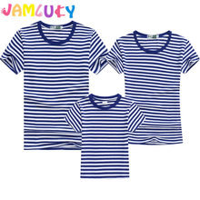 Summer T-Shirt Family Clothing Sailor Striped Dad Son T Shirt Family Look Set Father Mother Daughter Matching Outfits Clothes(China)