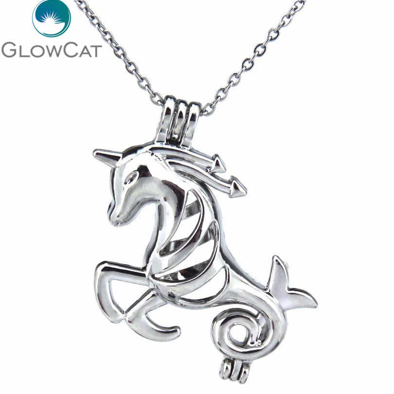 KK178 Creative Silver Flying Horse Bead Cage Pendant Essential Oil  Charm Trendy Locket Necklace Women Statement Jewelry