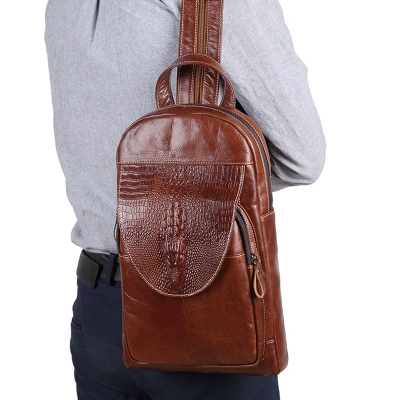 Crocodile Pattern Genuine Leather Backpack Men Business Bag Vintage Backpacks For Teenager School Bags Men Travel Crossbody Bag