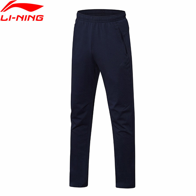 Li-Ning мужские тренировочные брюки из 28% хлопка, 72% полиэстера, с регулируемой талией, спортивные брюки AKLN087 MKY365