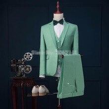 Последние конструкции пальто брюки Зеленая мята классический мужской костюм формальные Блейзер скинни Пром жених смокинг на заказ 3 предмета Куртки Для мужчин Vestidos
