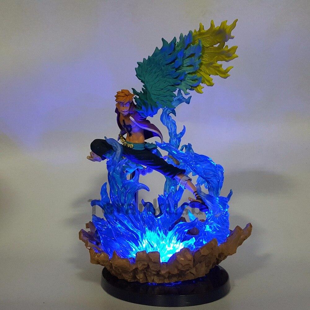 Одна деталь фигурку Marco LED Blue огонь рок-Подставки модель игрушки 150 мм ПВХ Игрушки Одна деталь аниме Marco Ace Луффи