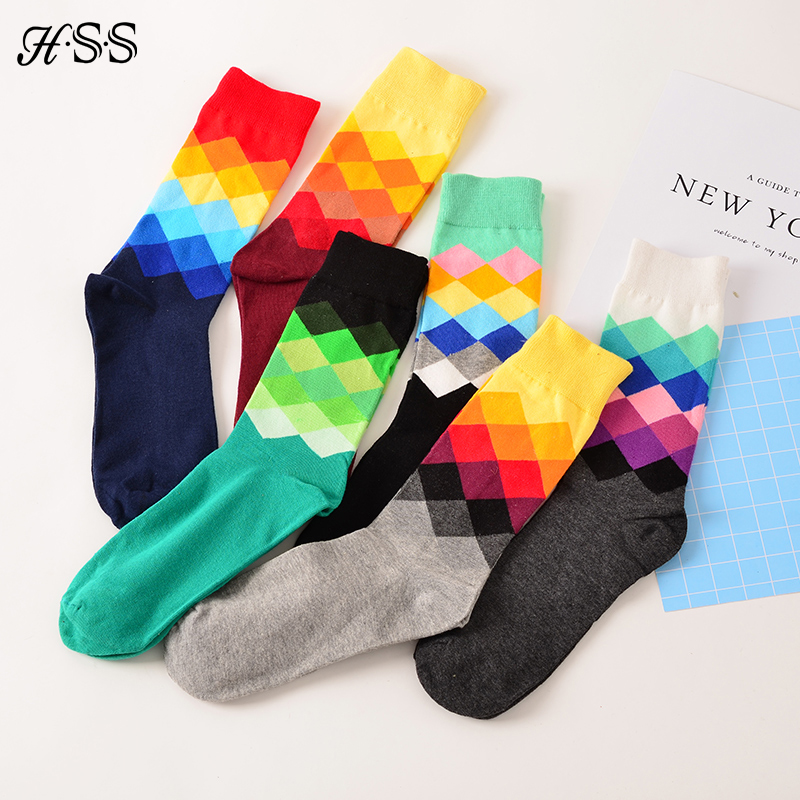 HSS Brand Fashion Mens Socks Colorful Diamond Sock For Man Casual Male Happy Sock (Suitable 39-45)5pairs/lot Free Shipping