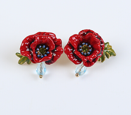 European fashion jewelry  les nereides Red Poppies stud earrings party jewelry  -Free Shipping