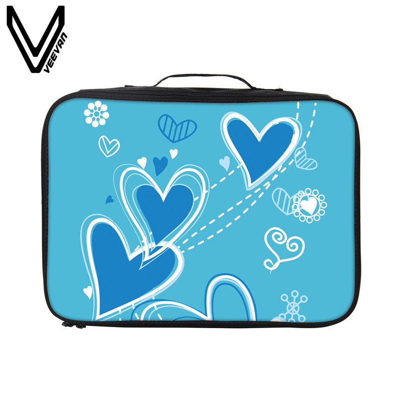 VEEVANV Hot sales Packing Organizers Lovely Heart Print Tote Handbag Fashion Travel Bag Women Travel Luggage Girls Storage Case