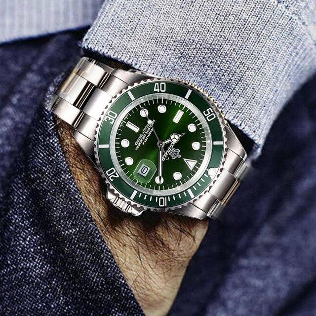 Hot Sale Waterproof Mens Watch Full Steel Green Quartz Watch Luxury Brand Fashion Business Watch Men Male Wrist Watches Clock