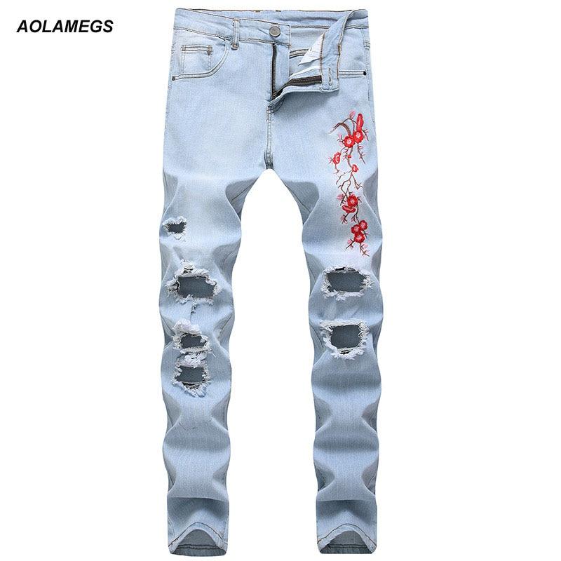 Aolamegs Men Light Blue Wash Jeans Embroidery Pants Men Hole Jogger Pants Casual Fashion Elasticity Sweatpants Leisure Trousers
