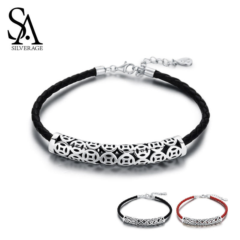 цена SA SILVERAGE 925 Sterling Silver Black/Red Vintage Leather Bracelets Bangles For Women 925 Silver Chinese Coins Charm Bracelets