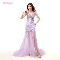 Lavender 2018 Prom Dresses Mermaid V Neck Cap Sleeves Crystals Slit Elegant Long Women Prom Gown