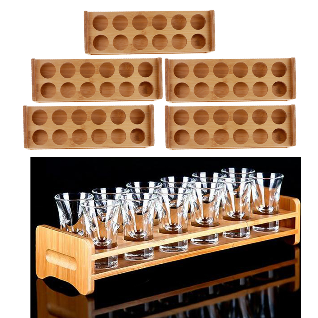 Set Of 5 Bamboo Shot Glass Holder Rack Barware Whisky Cup
