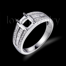 2015 New Emerald Cut 5x7mm 14Kt White Gold White Diamond Semi Mount Ring For Sale WU211