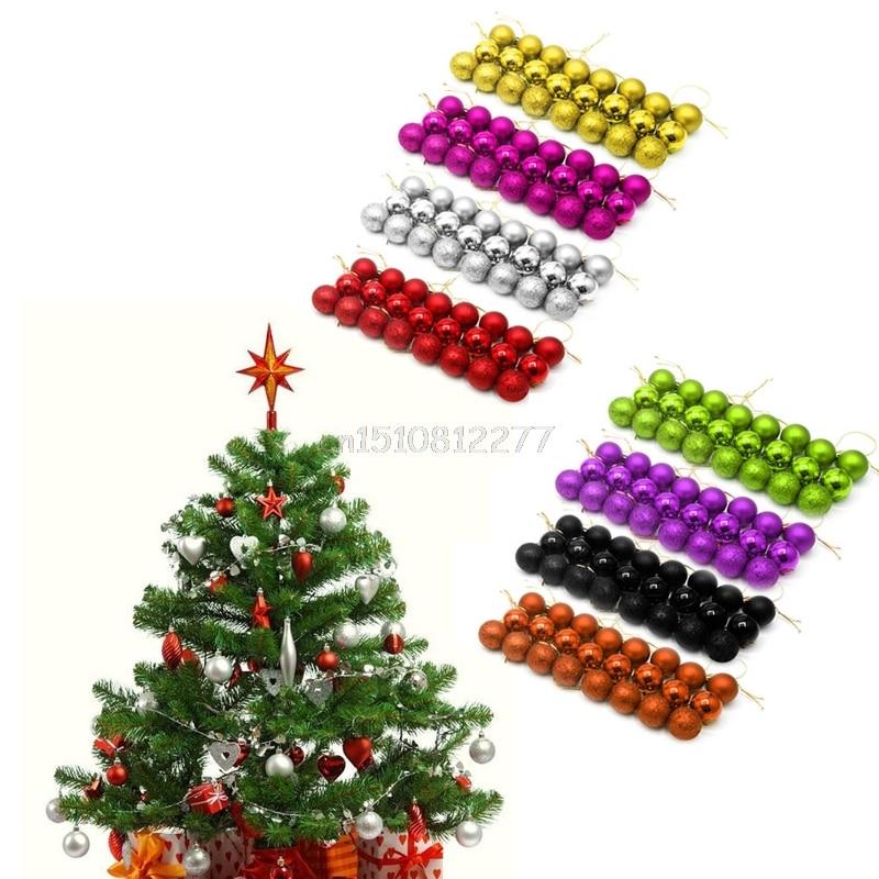 24pcs Glitter Christmas Balls Xmas Tree Baubles Hanging Decor Christmas Ornament H0vh China