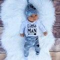 Новорожденный Мальчик Одежда Установить 2016 Осень Боди Baby Baby мальчик Одежда Набор Хлопка С Длинными Рукавами Ползунки + Брюки + Шляпа 3 Шт.