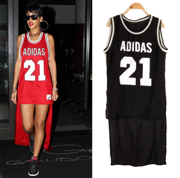 Fashion Punk 2014 Digital Print Low High Basketball T Shirt Women