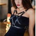 Arnês gótico Sexy Moda Punk PU LEATHER Harness Bondage Corpo Da Estrela Pentagrama Pentagrama Estrela Correias de Cintura Cintos De suspensórios