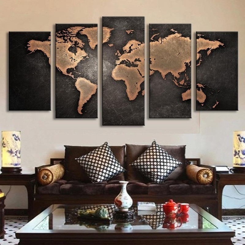 Elegant OWL Home Decor 5Pcs/Set Painting World Map Wall Art Abstract Tapestry World  Map Canvas Printed Office Picture Living Room Decor