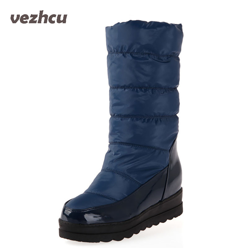Women Winter Boots Mid-Calf Boots Comfortable Waterproof Winter Boots Super Warm Casual Women Flats Shoes Snow Boots 8d80 double buckle cross straps mid calf boots